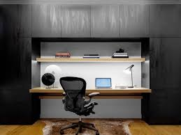 contemporary office ideas. Black Wall Contemporary Office Carpet Chair Wooden Floor Bookshelf Working Lamp Modern Table Ideas