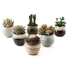 SUN-E 6 in Set 2.5 Inch Ceramic Flowing Glaze Black&White Base Serial Set  Succulent Plant Pot Cactus Plant Pot Flower Pot Container Planter