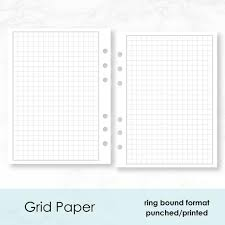 Printed A5 Rings Graph Paper Planner Insert 15 Double Sided Sheets Fits Lv Gm Agenda