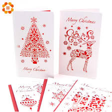 3pcs Lot Christmas Cards With Envelope Laser Cut Post Card Folding Greeting Invitation Card Christmas Party Decorations Gifts