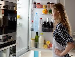 open refrigerator person. appliance open refrigerator person