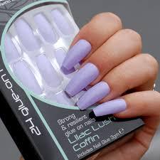 Royal Fialové Umělé Nehty Nalepovací S Lepidlem Lilac Lush Coffin 24 Glue On False Nails Tips 24ks S Lepidlem 3g