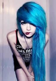 por make up long hair colored hair d hair emo scene blue