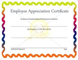 Employee Of The Year Certificate Template Free Employee Recognition Certificate Template Free Of Editable