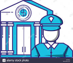Bank Security Design Security Agent With Bank Building Vector Illustration Design