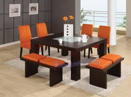 modern dining table with bench. Cool Orange Dining Room Chairs With Black Table White Carpet Modern Bench
