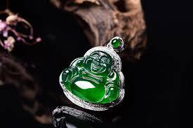 jadeite grade a buddha pendant with diamonds in 18k platinum 2 86 gr