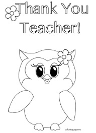 Small Picture Thank You Teacher Owl Coloring Page Coloring Page Coloring Pages