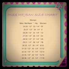 Miss Me Jeans Size Chart 36 Miss Me Size Chart