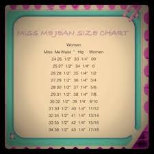Kids Miss Me Jeans Size Chart Miss Me Size Chart
