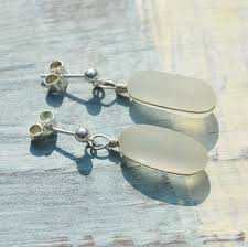 white sea glass drop earrings