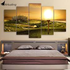 canvas paintings printed 5 pieces golf course wall art canvas pictures for living room bedroom modular on golf club wall art with canvas paintings printed 5 pieces golf course wall art canvas
