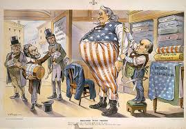 tailor president mckinley meres an obese uncle sam for larger clothing while anti expansionists in this 1900 political cartoon