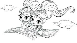 Shimmer And Shine Coloring Pages Games Board Sheets Free Drawing