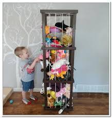 stuffed animal holder organizer storage with iron and laminate flooring  painting wall