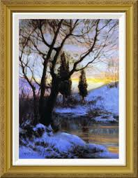 global gallery winter sunset by walter launt palmer framed painting print garden décor posters