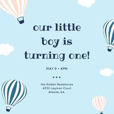 Balloon Birthday Invitations Light Blue Hot Air Balloons 1st Birthday Invitation Templates By Canva