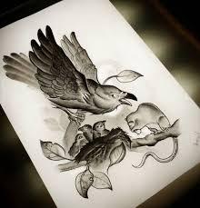 Tattoo Of Crow Bird Rat Animal Fauna Composition Neo