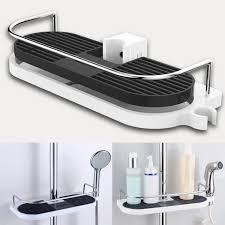 Wall Hanging Bathroom Pole Shelf Shower Storage Rack Shampoo Bath Towel  Organizer Tray Holder Home Bathroom