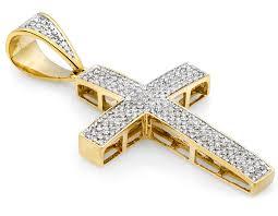 mens 10k yellow gold3 row puff pave genuine diamond cross pendant 74 ct 1 5