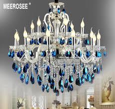 modern large 18 arms silver crystal chandelier light blue lustre hanging lamp fixture for silver crystal chandelier i29
