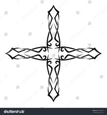 Cross Art Design Tribal Tattoo Design Vector Sketch Cross Stock Vector
