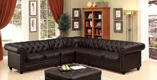 furniture of america cm6270br 5pc 5 pc stanford ii brown faux leather sectional sofa