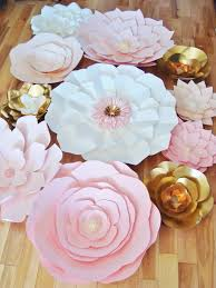White Paper Flower Wall Wedding Backdrop Pink White And Gold Flower Wall Set Of 35