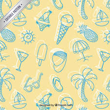 Summer Pattern Impressive Sketchy Summer Pattern Vector Free Download