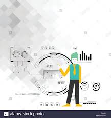 Seo Process Chart Man Standing Holding Pen Pointing To Chart Diagram With Seo