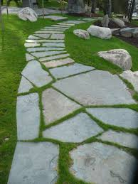 flagstone patio with grass. Flagstone Walkway Inset In Grass Patio With M