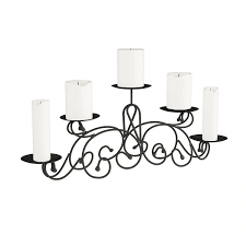Metal Candle Holder Designs Matte Black Multiple Candle Holder With Classic Scroll Design