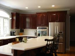 Kitchen Wall Colors With Cherry Cabinets White Leather Bar Stool