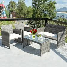 costway 4 piece rattan patio furniture