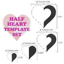 Half Heart Template Half Heart Template Set