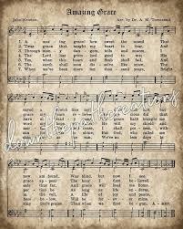 Amazing Grace Print Printable Vintage Sheet Music Instant Etsy