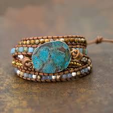 <b>Unique</b> Mixed Natural Stones Ocean Jasper Charm <b>Wrap Bracelets</b> ...
