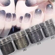 10ml 4 Barevné Barvy černé Nehty Glitter Powder Sequins Nail Art Dekorace Halloween