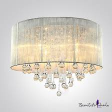 silver drum shade and rich crystal rainfall flush mount chandelier light niuyaofashion com