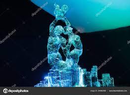Woman Sculpture Light Ice Sculpture Light Festival Jelgava Latvia February 2019