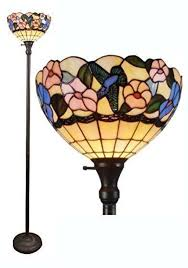 details about torchiere floor lamp tiffany style multi fl stained glass shade metal base