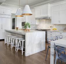 waterfall countertop ideas white kitchen cabinets
