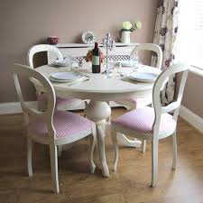 ... Dining Room Table, Amazing White Round Shabby Chic Wood Dining Table  With 4 Chairs Idea ...