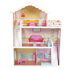 Photo 1 of 10 Large Children's Wooden Dollhouse Fits Barbie Doll House Pink  With Furniture - Walmart.com (