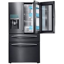 french door refrigerator in kitchen. Food Showcase 4-Door French Door Refrigerator In Black Kitchen