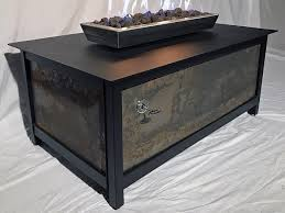 modern industrial outdoor heavy duty steel fire table with stainless steel burner and fire box and