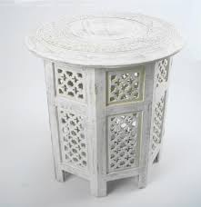 furniture round artistic moroccan white carved wood coffee table to fill terrific small living room