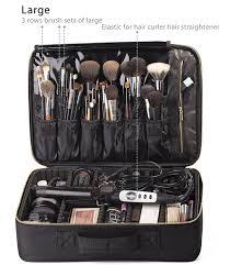 amazon rownyeon portable eva professional makeup case 16 14 makeup artist case makeup train case makeup artist organizer bag beauty
