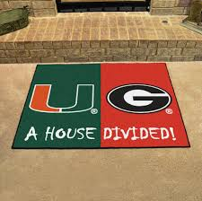 ncaa house divided rivalry rug miami hurricanes georgia bulldogs