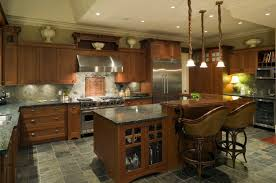 Plain Kitchen Tile Flooring Dark Cabinets Rich Grey And Brown Tones Unify This For Concept Design